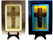 Spiritual Harvest Celtic Cross Lighted Shadow Box