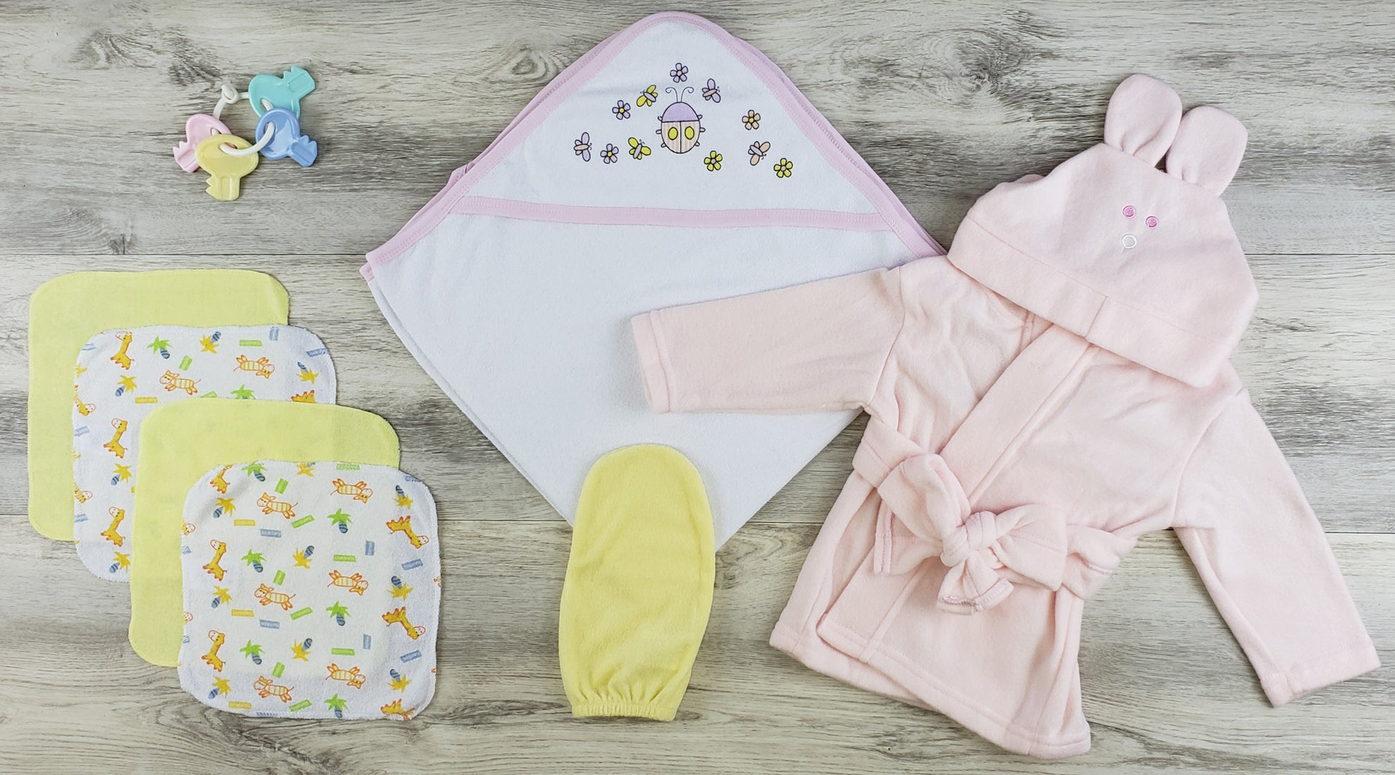 Bambini Hooded Towel, Wash Coths, Bath Mittens and Robe