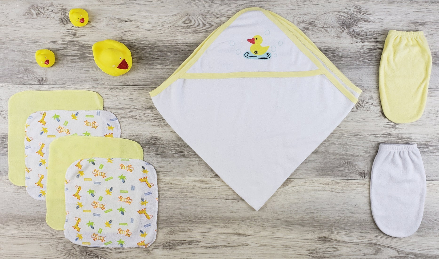 Bambini Hooded Towel, Wash Clothes, Bath Mittens and Robe