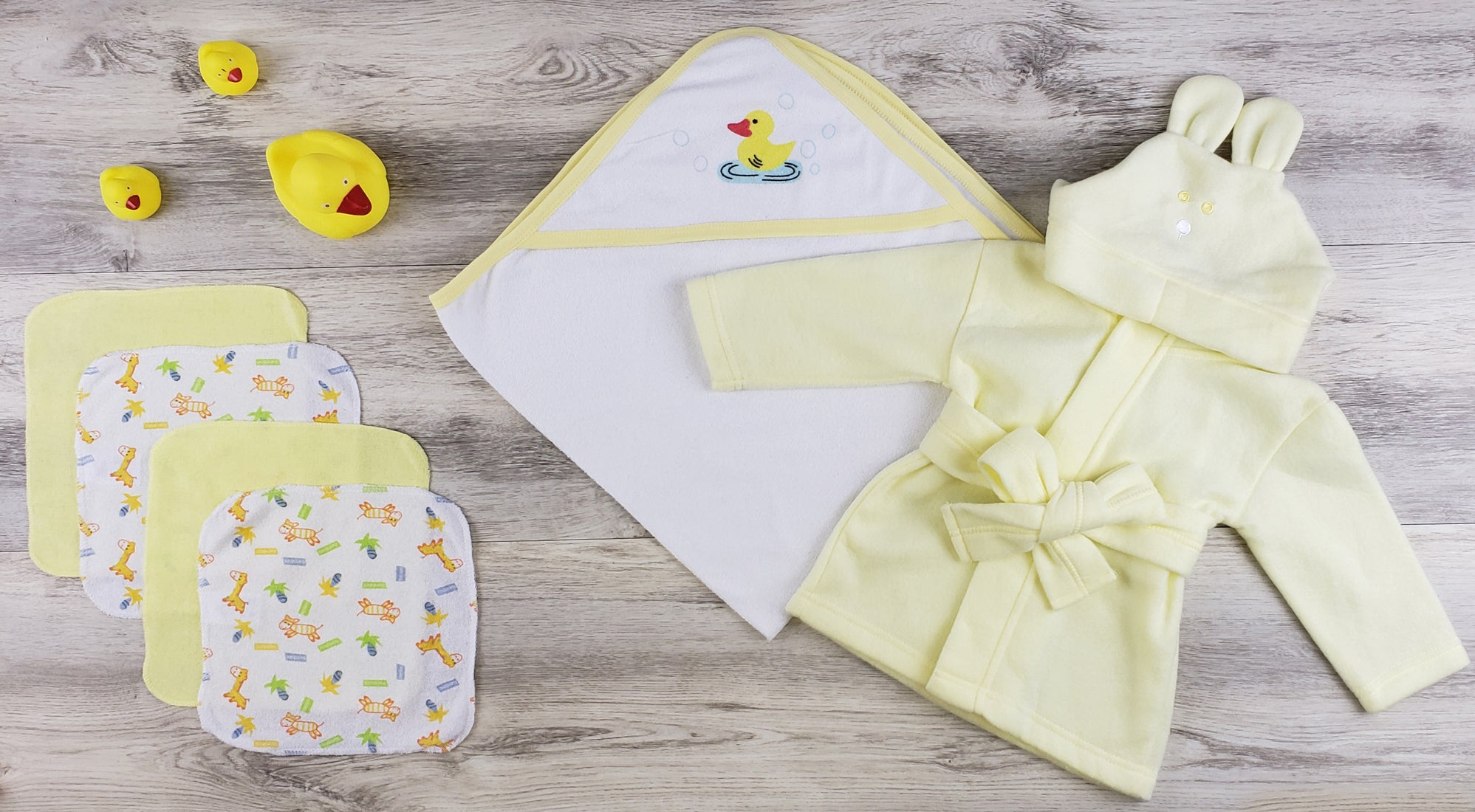 Bambini Hooded Towel, Wash Clothes and Robe