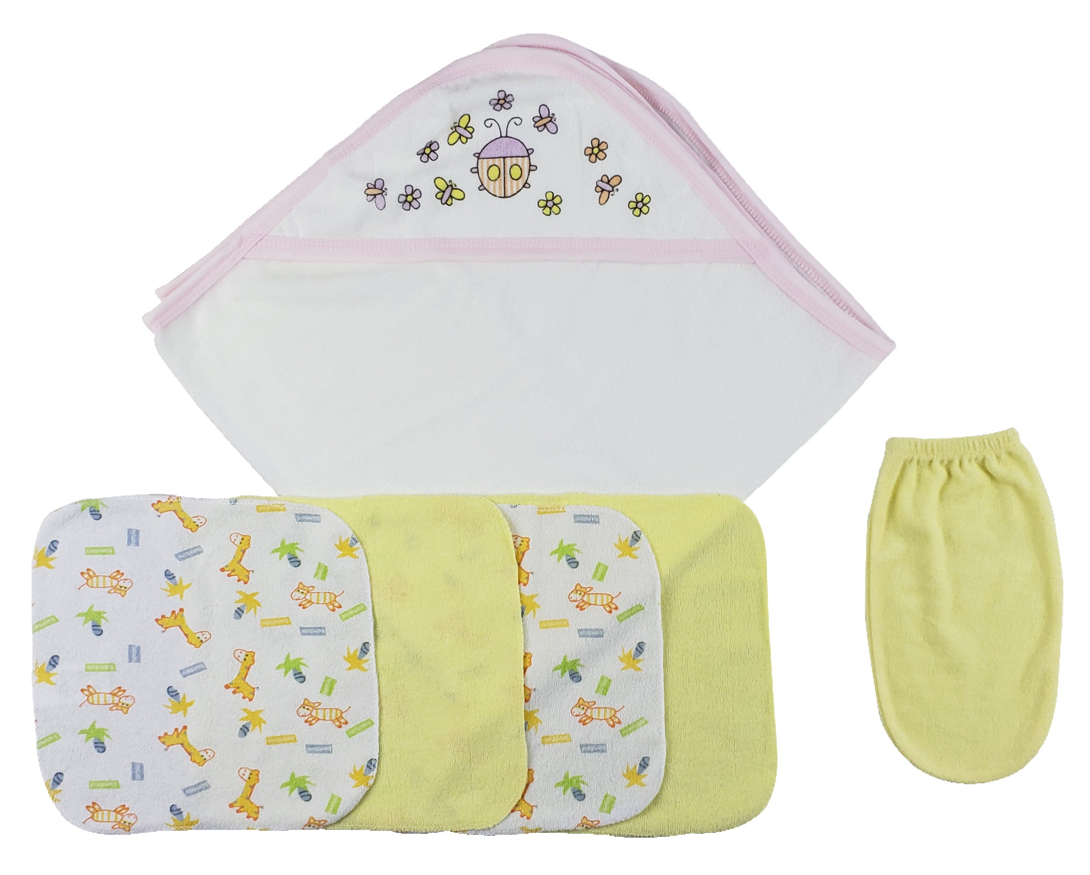 Pink Hooded Towel, Washcloths and Hand Washcloth Mitt - 6 Pc Set�