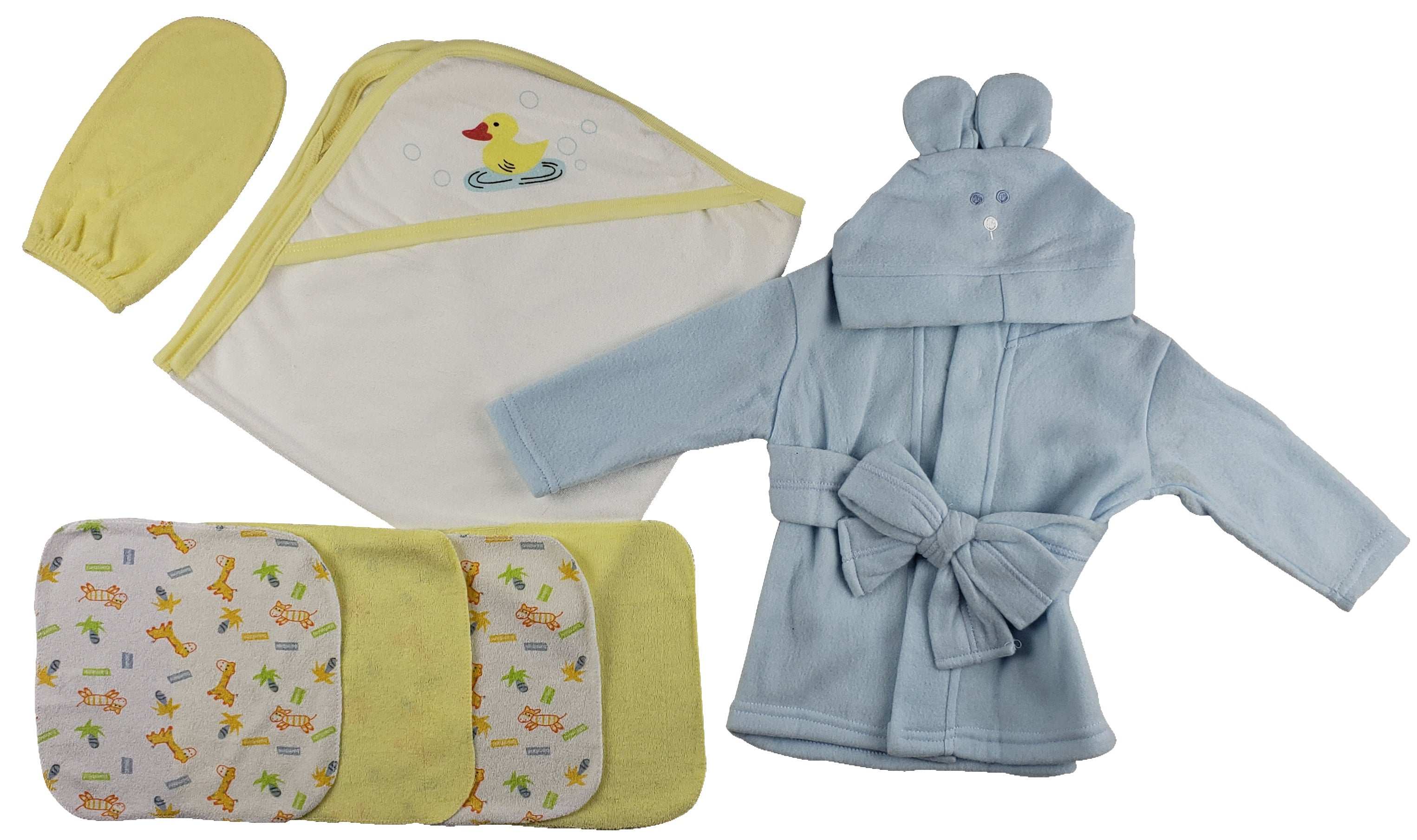 Blue Infant Robe, Yellow Hooded Towel, Washcloths and Hand Washcloth Mitt - 7 Pc Set�