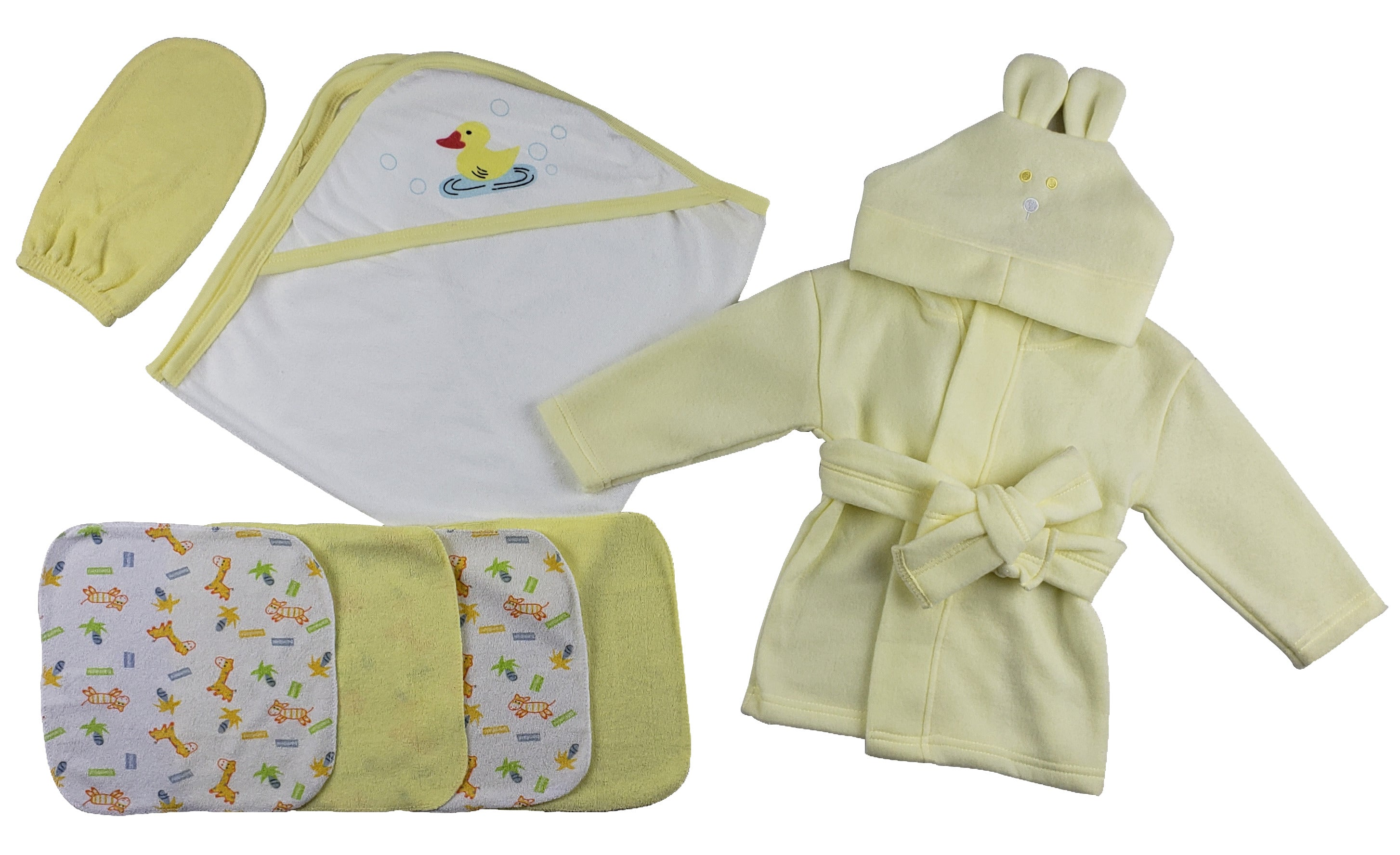 Yellow Infant Robe, Yellow Hooded Towel, Washcloths and Hand Washcloth Mitt - 7 Pc Set�