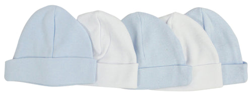 Bambini Blue & White Baby Caps (Pack of 5)