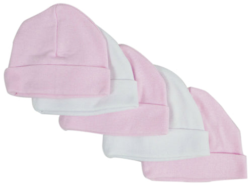 Bambini Pink & White Baby Caps (Pack of 5)