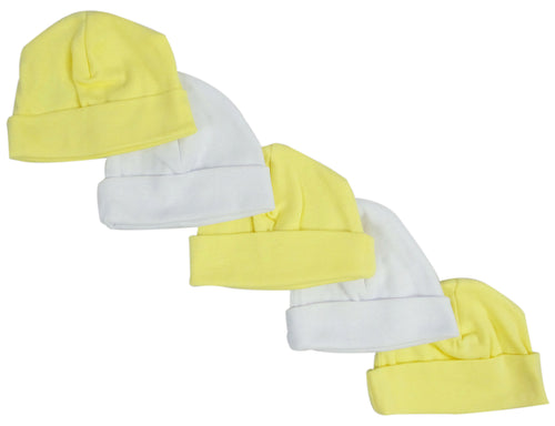 Bambini Yellow & White Baby Caps (Pack of 5)