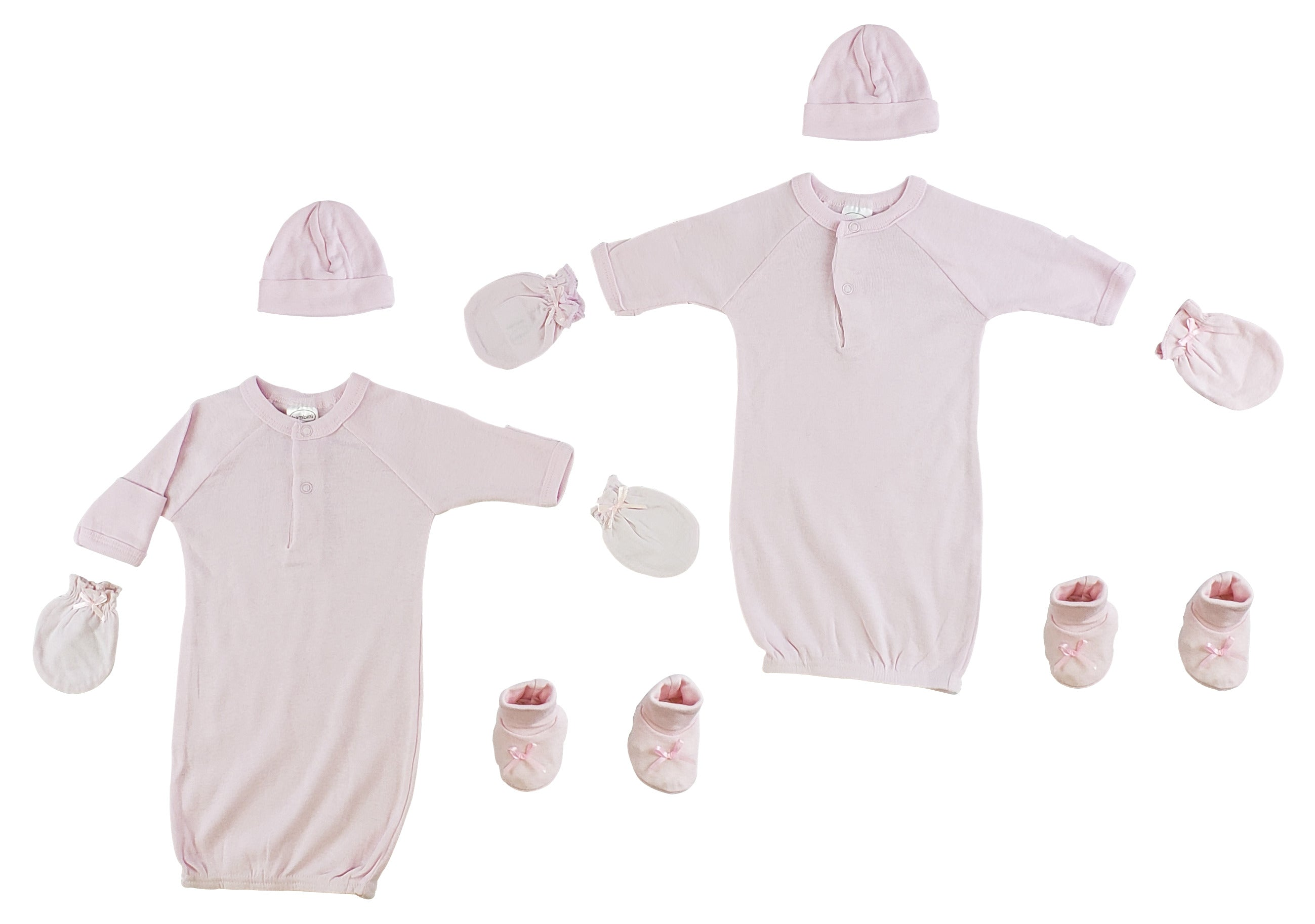 Preemie Gown, Cap, Mittens and Booties - 8 Pc Set