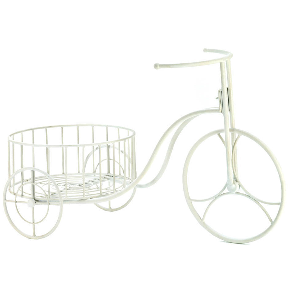 Whimsical White Iron Tricycle Planter