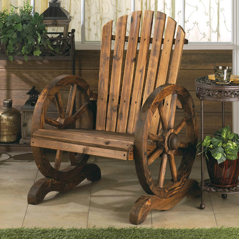 Wagon Wheel Wood Adirondack-Style Garden Chair