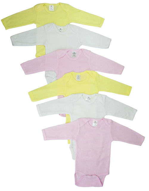 Bambini Girls Pastel Long Sleeve Onezie 6 Pack