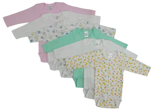 Bambini Girls' Long Sleeve Printed Onezie Variety 6 Pack