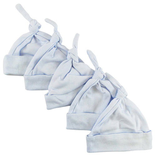 Bambini Blue Knotted Baby Cap (Pack of 5)