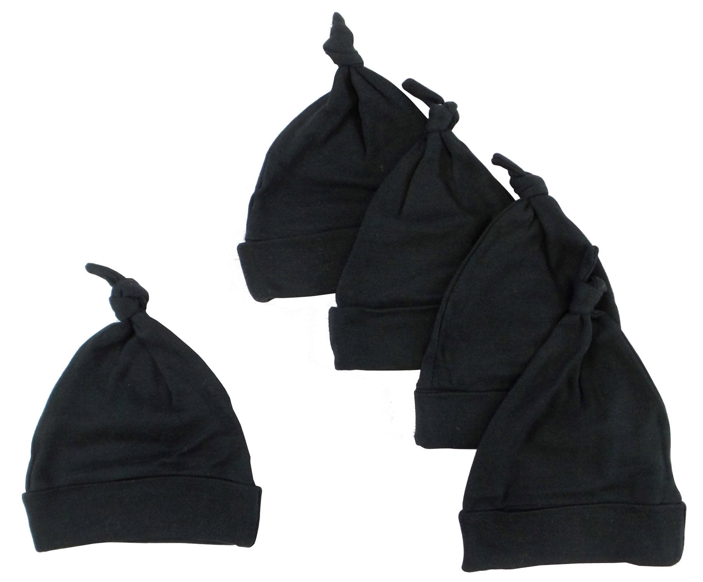 Bambini Black Knotted Baby Cap (Pack of 5)
