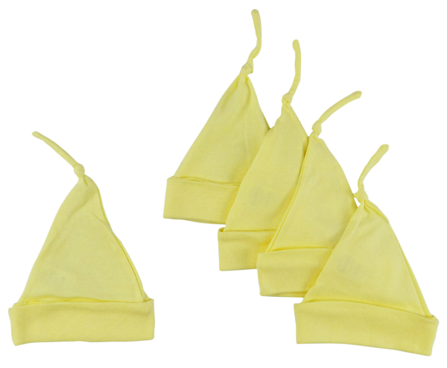 Bambini Yellow Knotted Baby Cap (Pack of 5)