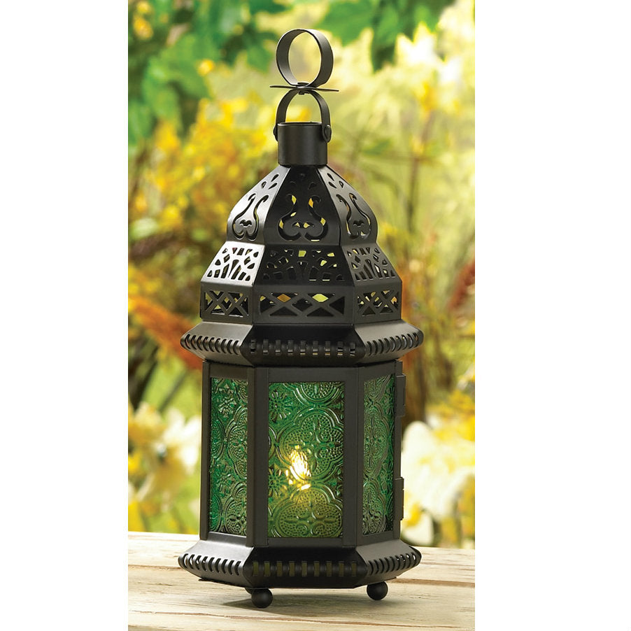 Emerald Glass Moroccan Candle Lantern - 10 inches