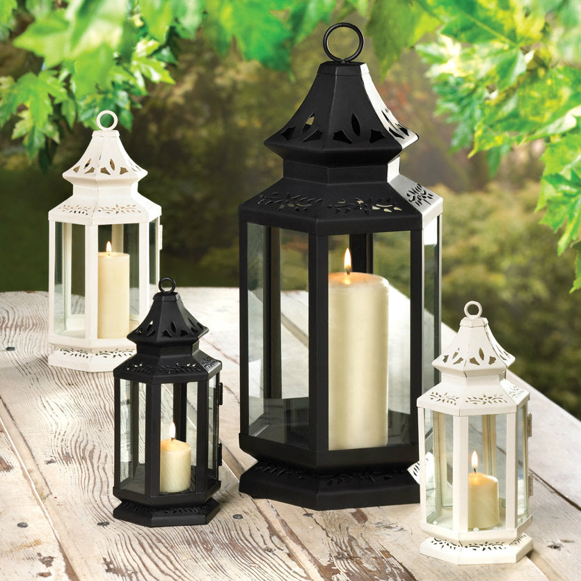 Victorian Style White Candle Lantern - 8 inches