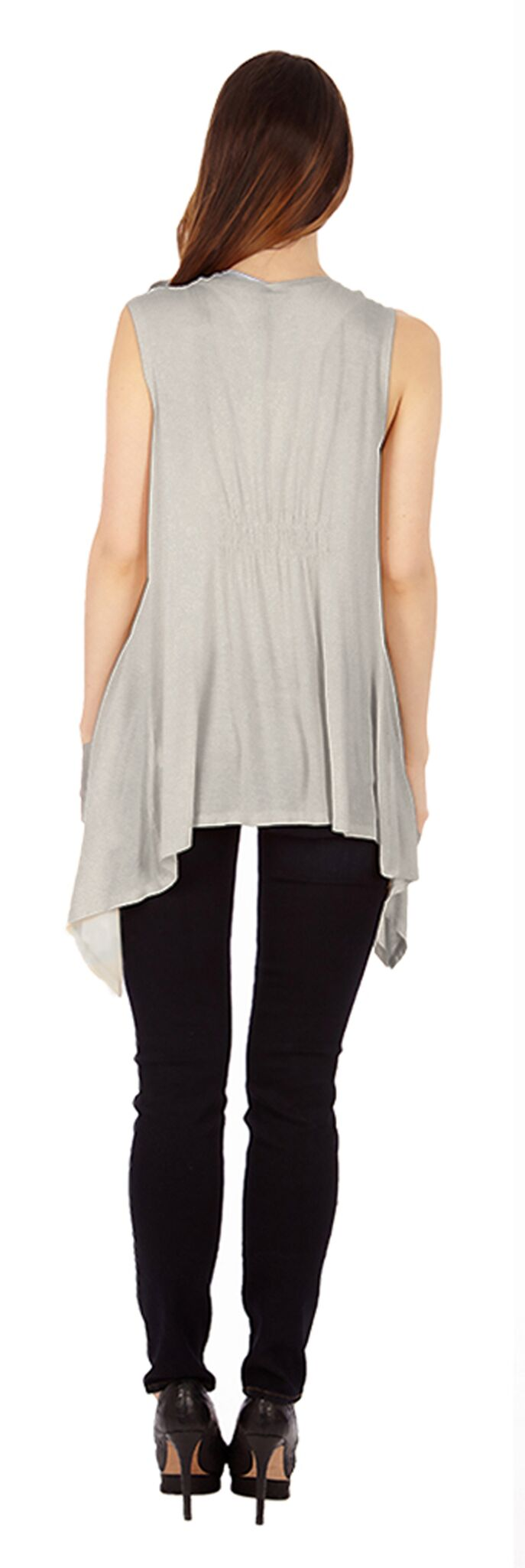Light Heather Gray Sleveless Cardigan - Home Goods Galore