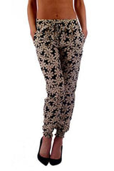 Black & White Floral Print Harem Pants - Home Goods Galore