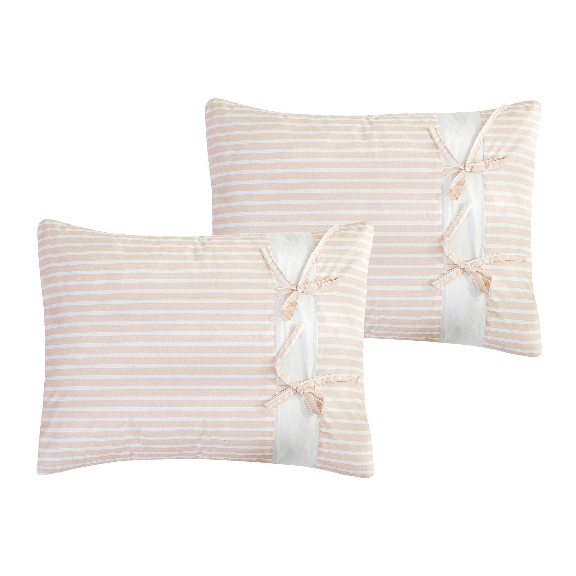Modern Lucille Pink and White Stripes Comforter - 7 Piece Set