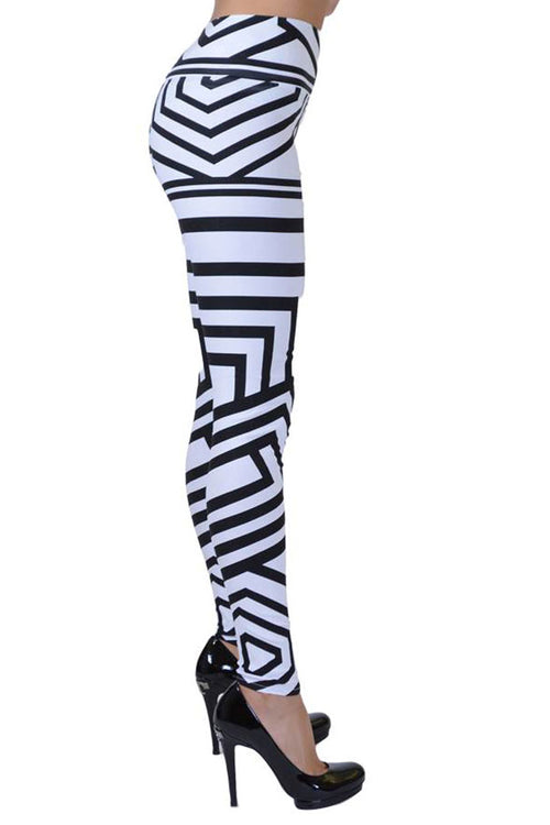 Black And White Tribal Lines Print Jeggings - Home Goods Galore