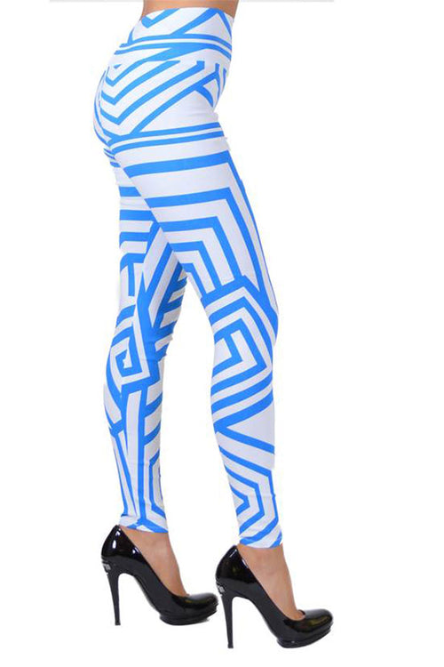 Blue And White Tribal Lines Print Jeggings - Home Goods Galore