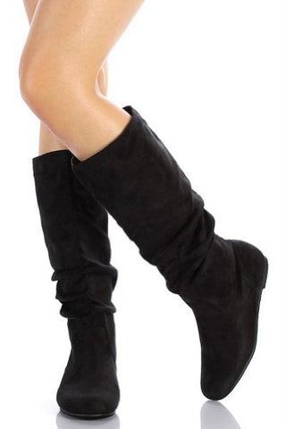 Qupid Neo-144 New Women Leatherette Slouchy Knee High Riding Boot