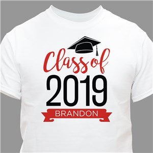 Personalized Graduate Hat With Diploma White T-Shirt