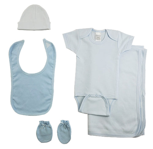 Boys 5 Piece Blue Layette Set