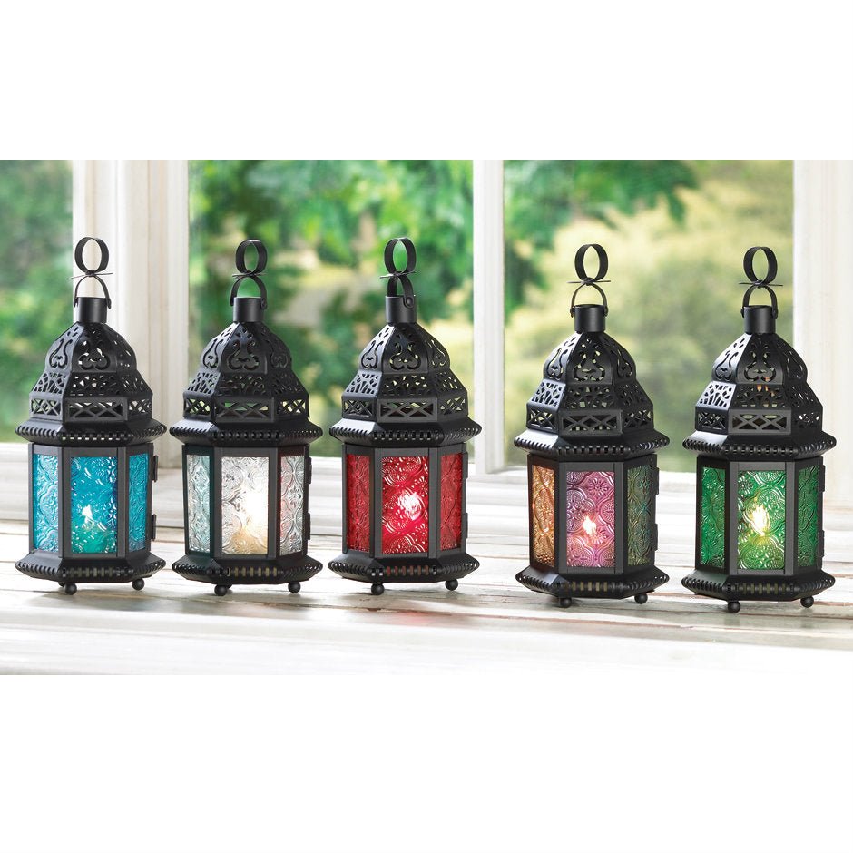 Multi-Colored Glass Moroccan Candle Lantern - 10 inches