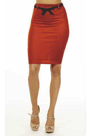 Red High Pencil Skirt