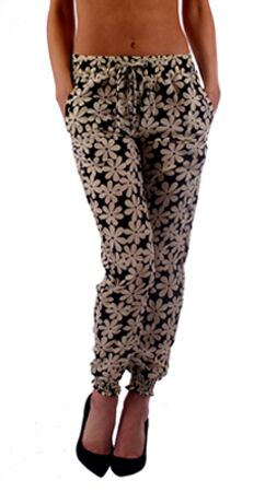 Black and White Daisy Print Harem Style Jogger Pants - Home Goods Galore