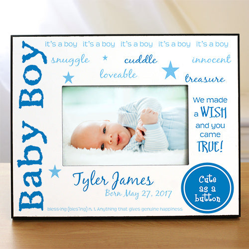 We Made A Wish - New Baby Personalized Printed Frame - Home Goods Galore