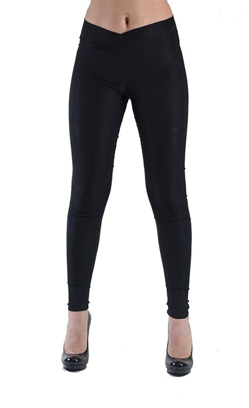 Women's Skinny Leggings with with Cross-Over Waistband