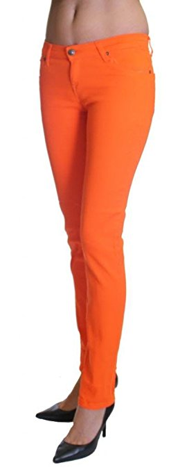 Orange Colored Denim Skinny Jeans - Home Goods Galore