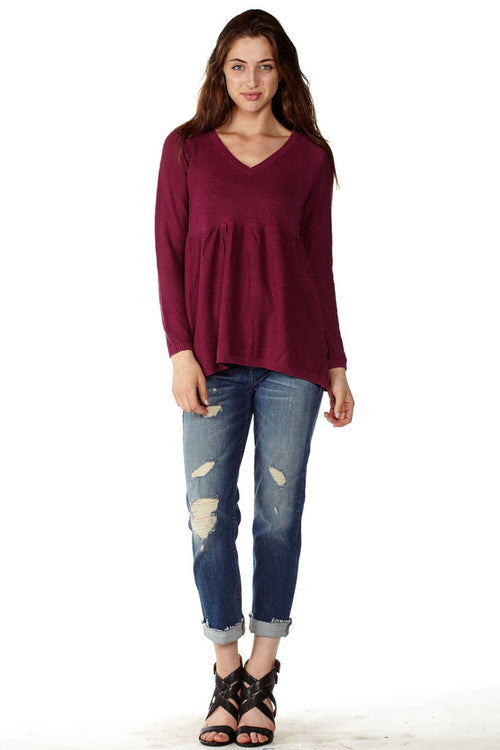Women's V-Neck Tunic Knit Sweater - Home Goods Galore