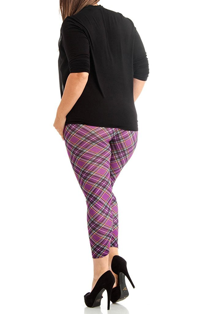 Plus Size Violet Patch Plain Women's Leggings - Home Goods Galore