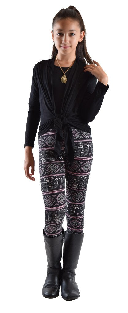 Girls Fun Printed Leggings- Elephant Abstract - Home Goods Galore