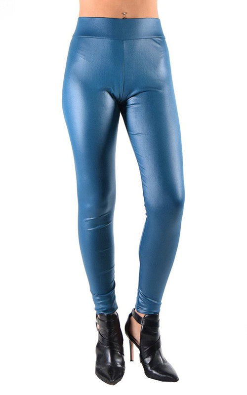 Juniors Faux Leather Liquid Wet Look Leggings
