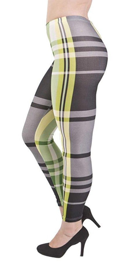 Yellow Checkers Plus Size Leggings - Home Goods Galore