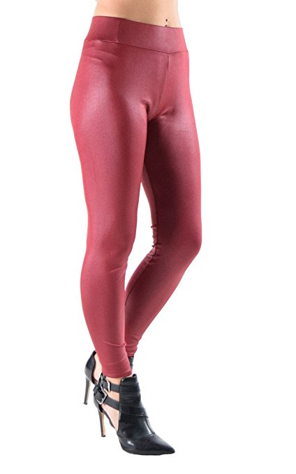 Juniors Faux Leather Liquid Wet Look Leggings - Home Goods Galore