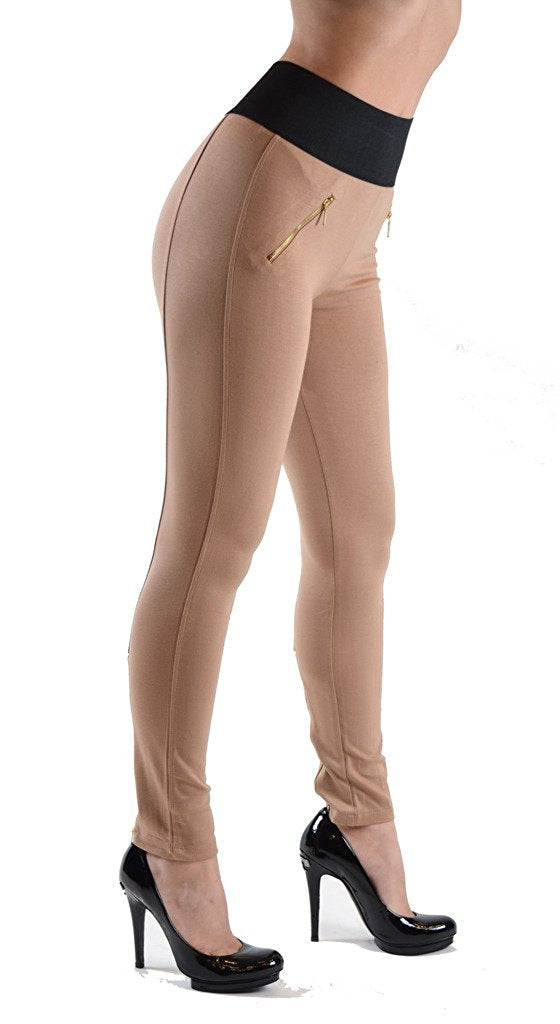 High Waist Zipper Pocket Jeggings - Home Goods Galore