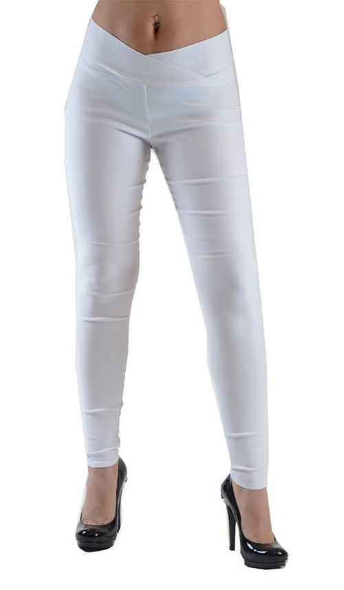Women's Skinny Leggings with with Cross-Over Waistband - Home Goods Galore