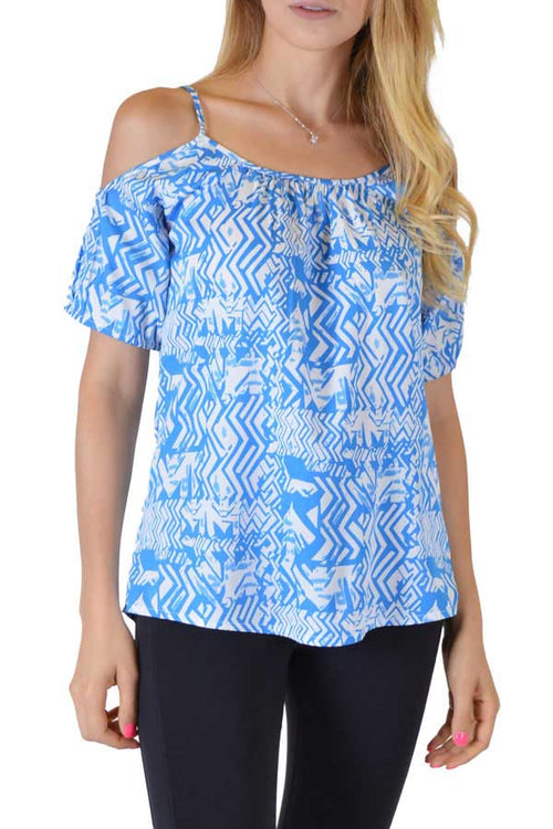 Blue Spaghetti Blouse With Sleeves - Home Goods Galore