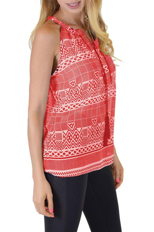 Coral Printed Anil Top - Home Goods Galore