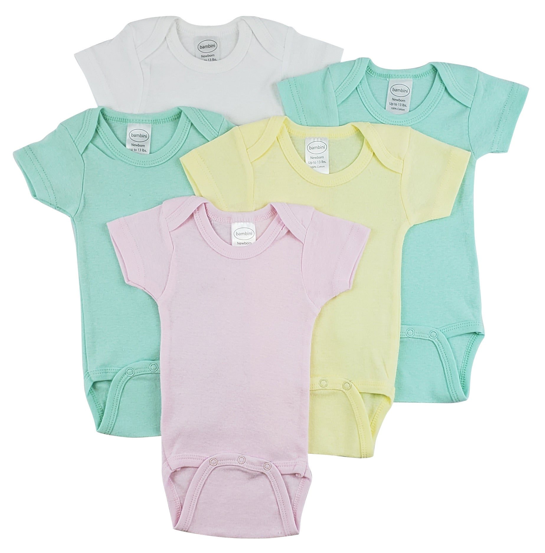 Bambini Short Sleeve One Piece 5 Pack