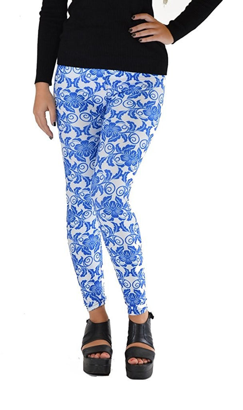 Blue and White Flower Print Plus Size leggings - Home Goods Galore