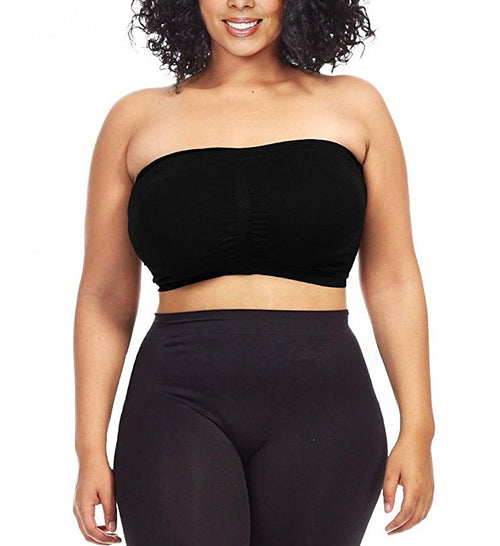 Women's Plus Size Seamless Padded Bandeau Tube Top Bra - Home Goods Galore