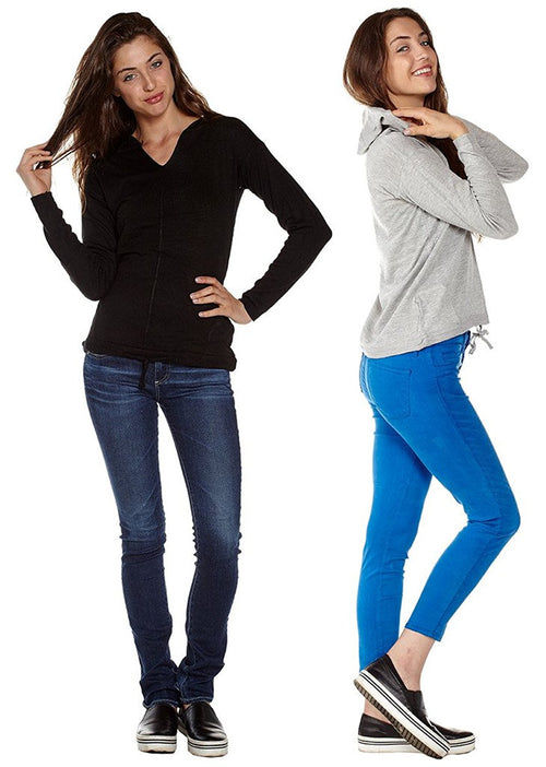 2 Pack Juniors Hooded Pullover Cotton Sweater - Home Goods Galore