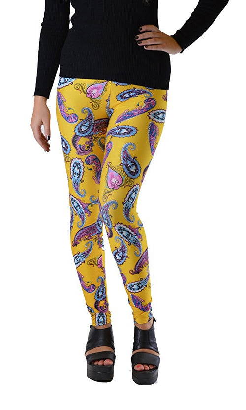 Yellow Paisley Print Leggings