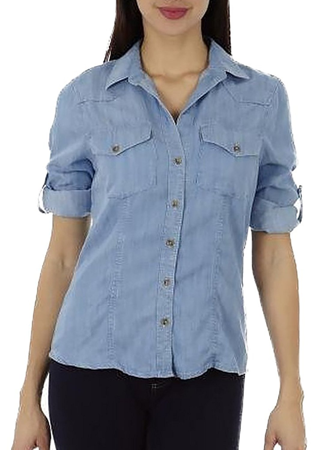 Dinamit Juniors Tailored Tencel Denim Safari Button Up Shirt - Home Goods Galore